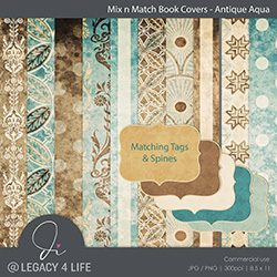 Mix n Match Book Covers – Antique Aqua