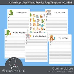 Animal Alphabet Writing Practice Templates (Cursive)