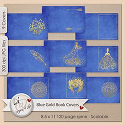 Royal Blue and Gold Book Covers