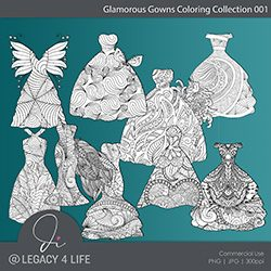 Glamorous Gowns Coloring Collection 001