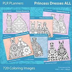 Princess Dresses for Coloring Books
