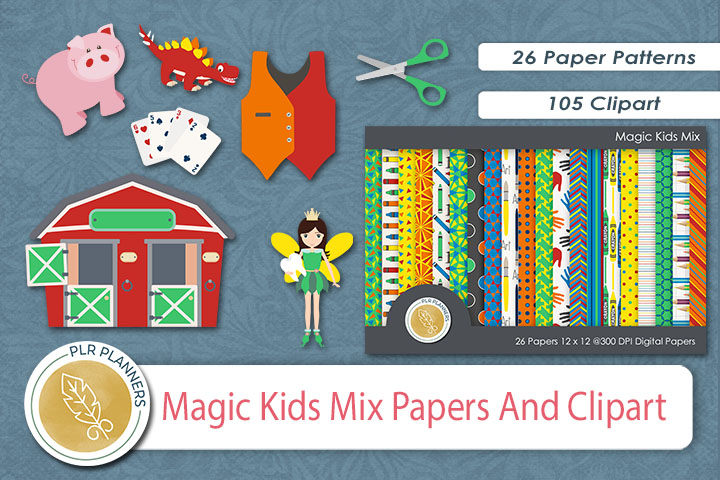 Magic Kids Mix Papers & Clipart