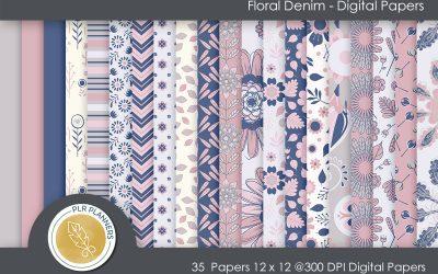Floral Denim Paper Pack
