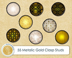 Digital Gold Clasp Studs