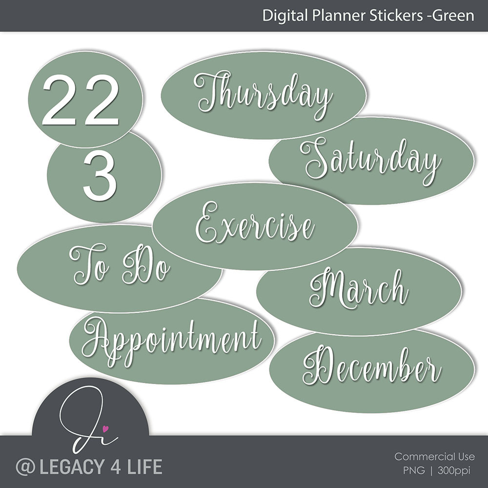 Digital Planner Stickers – Green