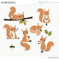 Autumn Squirrels Layered Templates