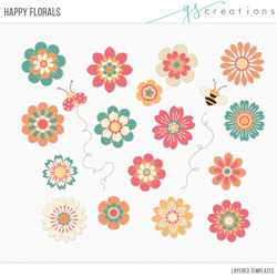 Happy Florals Layered Templates