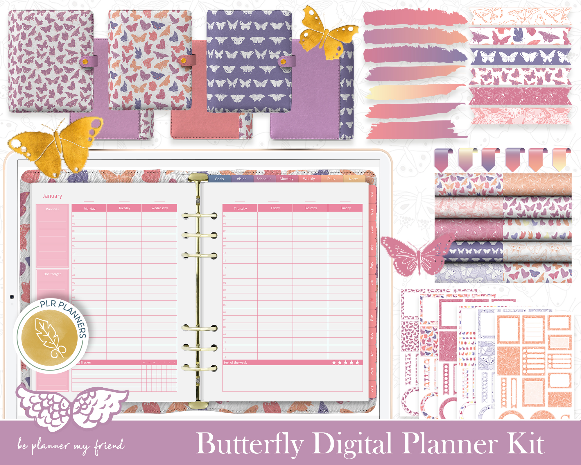 Butterfly Digital Planner Kit with Be Planner My Friend